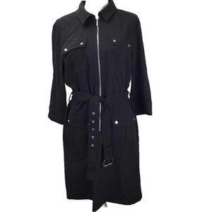 Michael Kors Women Belted Shirt Dress Black  XL
